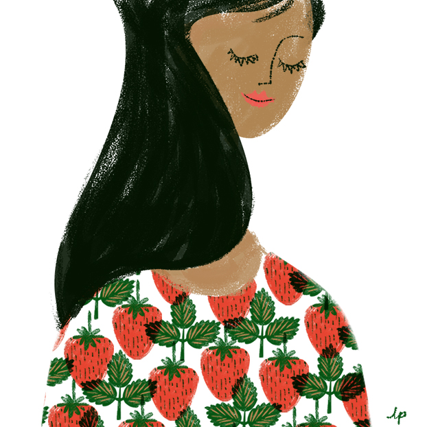 Strawberry fashion illustration lab partners