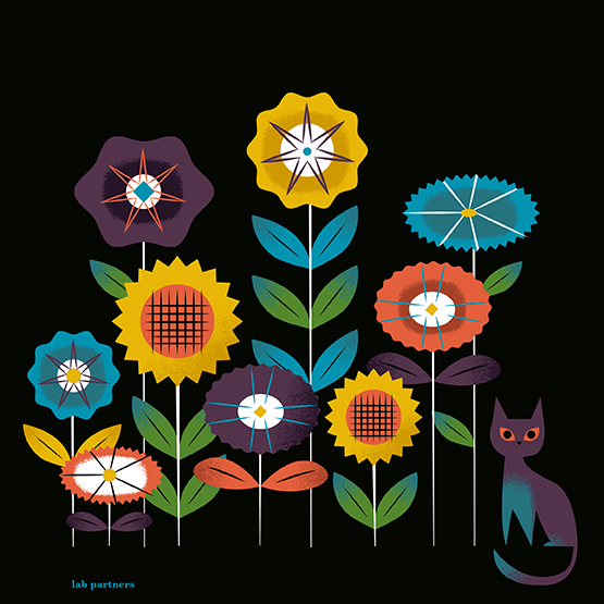 earth day lab partners illustration flowers cat